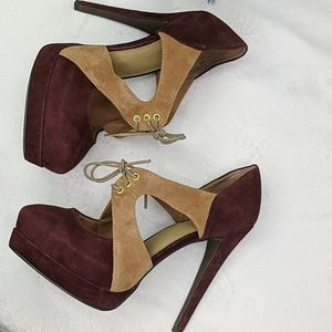 Levity suede leather colorblock lace up heels